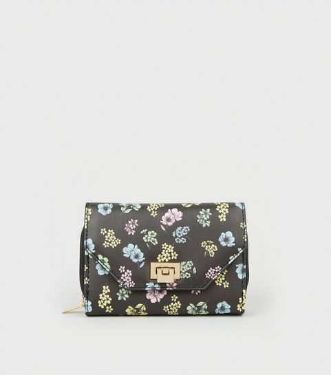 cf4e82b9c52b ... Black Leather-Look Floral Small Purse ...