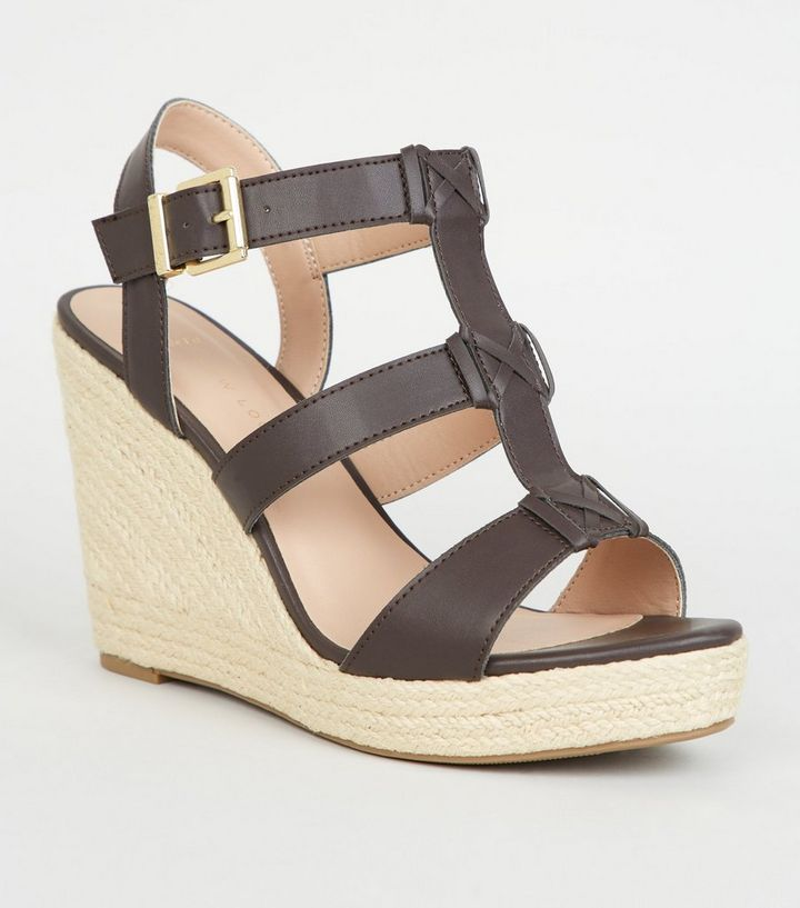 27f97f86c63 Wide Fit Brown Strappy Espadrille Wedge Sandals