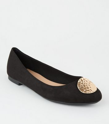 Wide Fit Black Suedette Beaten Circle Ballet Pumps