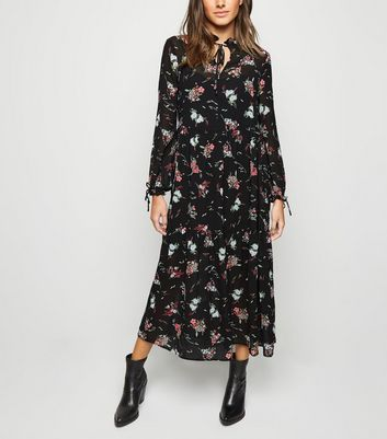 Black Floral Chiffon Maxi Dress