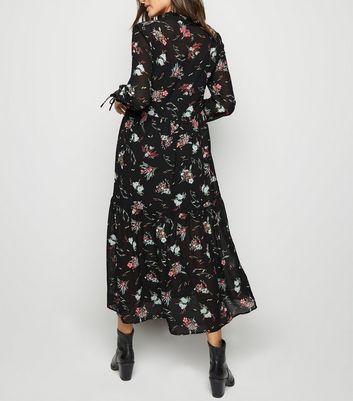Black Floral Chiffon Maxi Dress New Look