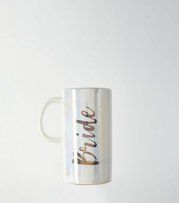 White Iridescent Bride Slogan Mug