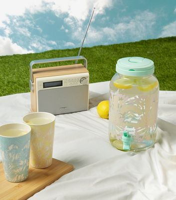 Mint Green Palm Print Drinks Dispenser