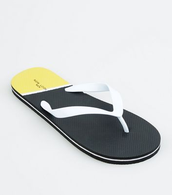 Black Colour Block Stripe Sole Flip Flops