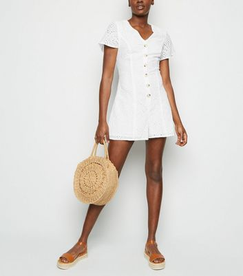White Button Up Broderie Playsuit