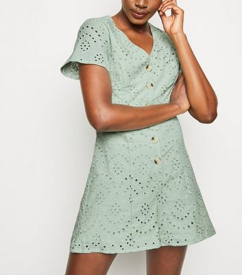 Mint Green Button Up Broderie Playsuit