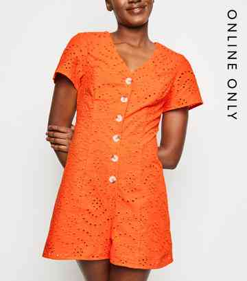 Bright Orange Button Up Broderie Playsuit