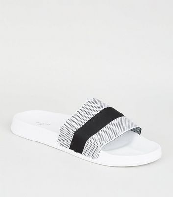 White Mesh Stripe Strap Sliders