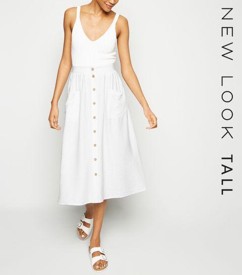 06531fbcd4b ... Tall White Twill Button Up Midi Skirt ...