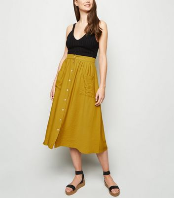 Tall Mustard Twill Button Up Midi Skirt