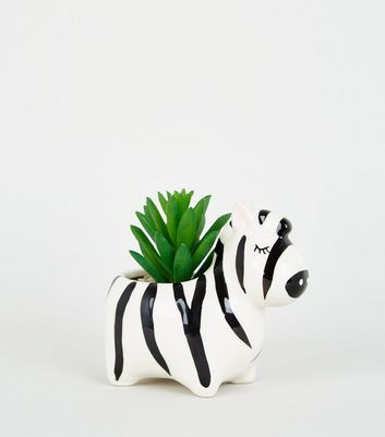 Black Zebra Print Planter
