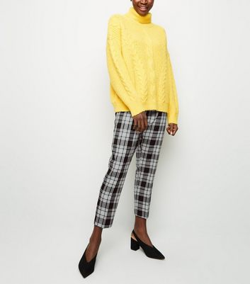 Tall Black Woven Check Trousers