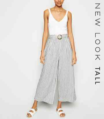 Tall Off White Stripe Linen Blend Belted Trousers