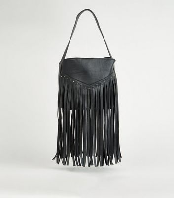 Black Leather-Look Fringed Western Bag