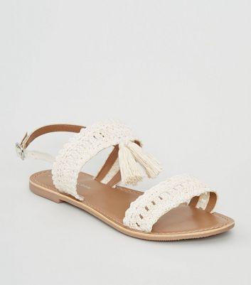 Wide Fit Off White Crochet Strap Sandals