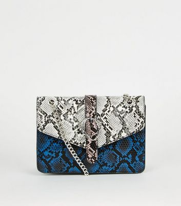 Blue Faux Snake Colour Block Shoulder Bag