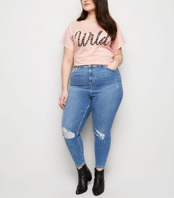Curves Blue 'Lift & Shape' Ripped Skinny Jeans