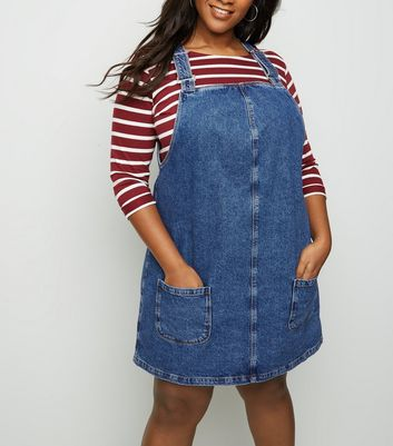 Curves Blue Buckle Denim Pinafore Dress