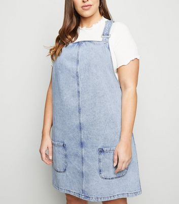 Curves Pale Blue Acid Wash Denim Pinafore Dress