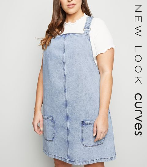 ba0e8c57e0 ... Curves Pale Blue Buckle Denim Pinafore Dress ...