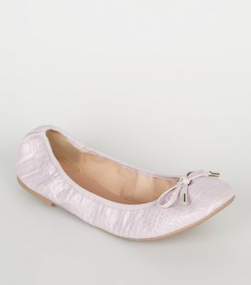 Wide Fit Lilac Faux Croc Elasticated Ballet Pumps