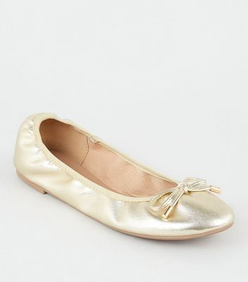 Wide Fit Gold Faux Croc Elasticated Ballet Pumps