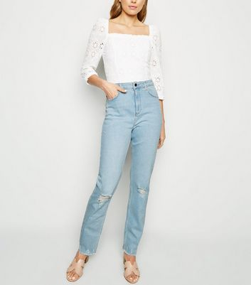 Tall Blue Ripped Bleach Wash Slim Mom Jeans