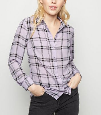 Petite Purple Check Shirt