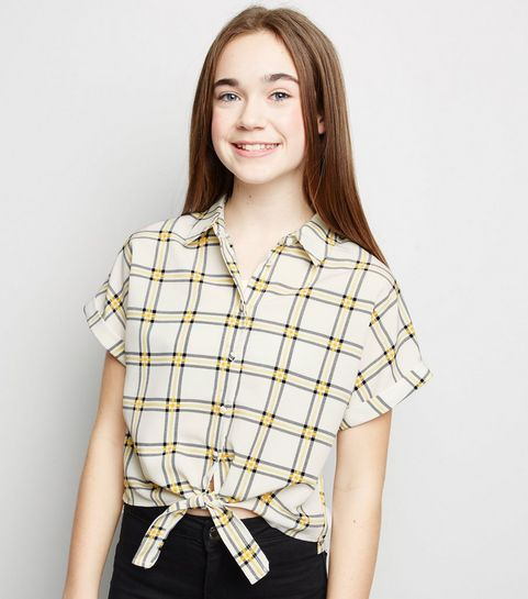 3fe9f3f75a1 ... Girls Yellow Check Grid Tie Front Shirt ...