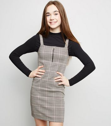 Girls Pink Check Zip Bodycon Pinafore Dress