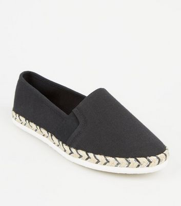 Wide Fit Black Canvas Metallic Sole Espadrilles