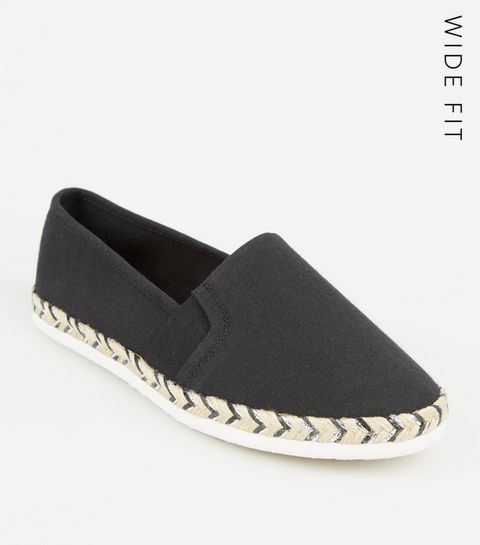 5cf407ac35b ... Wide Fit Black Canvas Metallic Sole Espadrilles ...