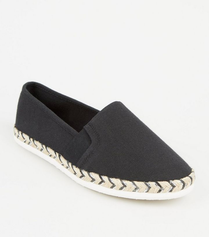 0c53b1172b8 Wide Fit Black Canvas Metallic Sole Espadrilles