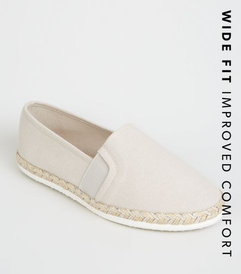 aa472ec8e5d ... Wide Fit Grey Canvas Metallic Sole Espadrilles ...