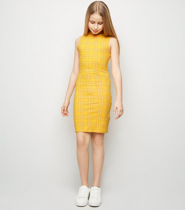 0722f9ff539d Girls Yellow Check High Neck Bodycon Dress