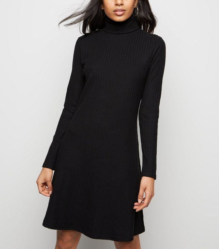 453def701a30e Petite Black Ribbed Roll Neck Dress | New Look