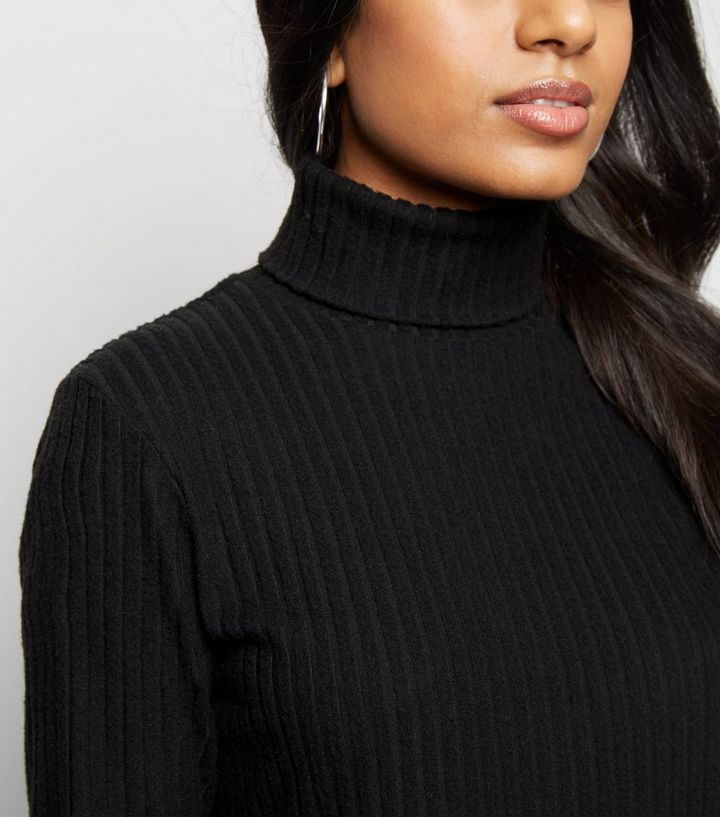 c5a07968972c4 ... Petite Black Ribbed Roll Neck Dress. ×. ×. ×. Shop the look