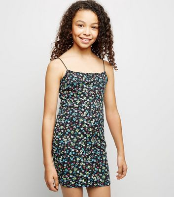Girls Black Ditsy Floral Bodycon Dress
