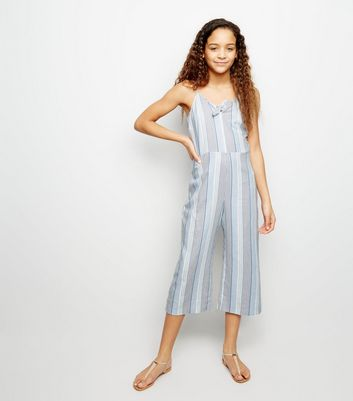Girls Blue Linen Blend Tie Front Jumpsuit