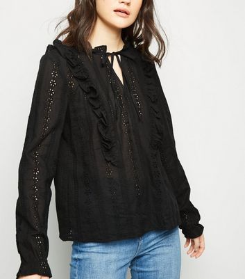Black Cut Out Embroidered Long Sleeve Blouse