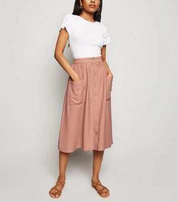 Petite Deep Pink Twill Button Front Midi Skirt