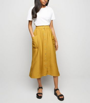 Petite Mustard Twill Button Front Midi Skirt