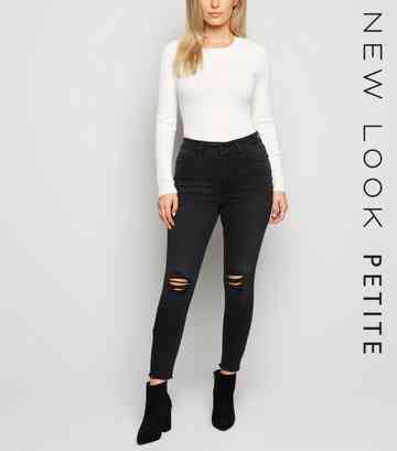 Petite Black 'Lift & Shape' High Rise Ripped Jeans