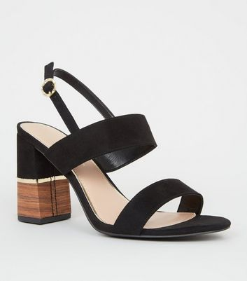 Wide Fit Black Double Strap Sandals