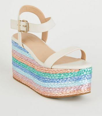 White Leather-Look Multi Plait Flatform Sandals