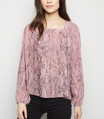 Pink Snake Print Long Sleeve Square Neck Blouse