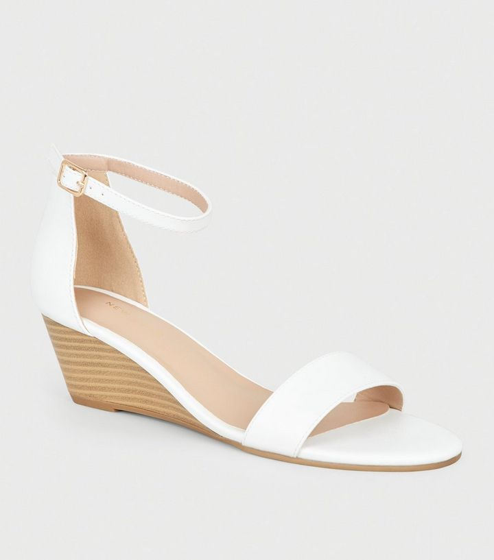03b0e737bfdc White Leather-Look 2 Part Wedge Sandals