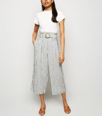 Petite Off White Linen Blend Cropped Trousers