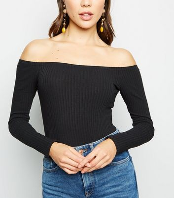 Black Ribbed Long Sleeve Bardot Bodysuit