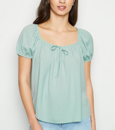be9f9a1f9e34 ... Mint Green Tie Front Square Neck Top ...